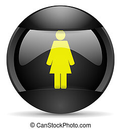 woman round black web icon on white background