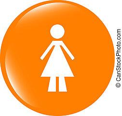 woman round glossy web icon on white background