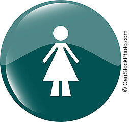 woman round glossy web icon on white background