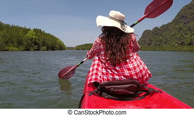 Woman Rowing Kayaking In Lagoon Action Camera POV Back Rear View Of Girl Paddling On Kayak Boat