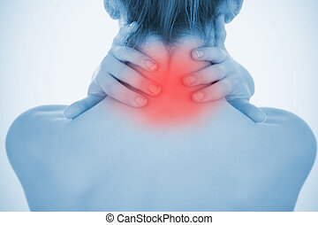Woman rubbing highlighted neck pain in blue tint