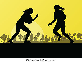 Woman rugby silhouette in countryside nature background illustra