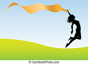 A fit healthy woman holding a ribbon banner runs and leaps for joy and celebration.