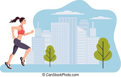 Woman runner character run in city park summer. Healthy lifestyle concept. Vector design graphic flat cartoon isolated illustration