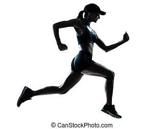 woman runner jogger - one caucasian woman runner jogger in...