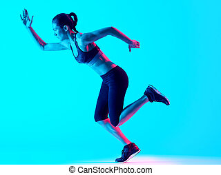 woman runner running  isolated