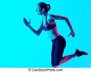 woman runner running  isolated