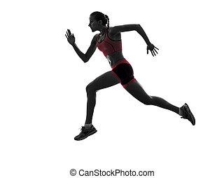 woman runner running jogger jogging  silhouette