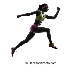 woman runner running jumping silhouette - one caucasian...