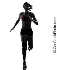 woman runner running marathon silhouette
