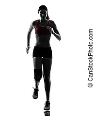 woman runner running marathon silhouette - one woman runner...
