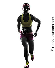 woman runner running silhouette - one caucasian woman runner...