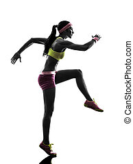 woman runner running silhouette - one woman runner running...