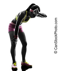 woman runner running tired breathless silhouette - one ...