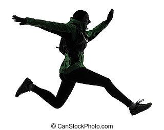 woman runner running trekking silhouette