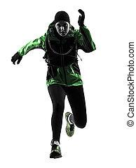 woman runner running trekking silhouette - one causasian...