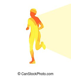 Woman runner sprinter silhouette illustration  background colorful concept