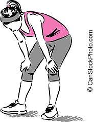 woman runner tired illustration