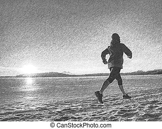 Woman runner training outdoors in winter times