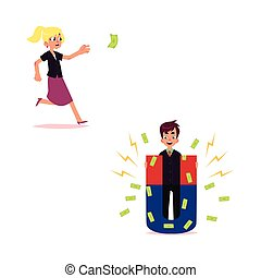 Woman running after flying money, man with magnet