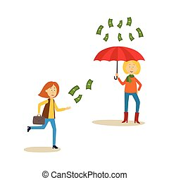 Woman running after flying money, rain - Woman standing...