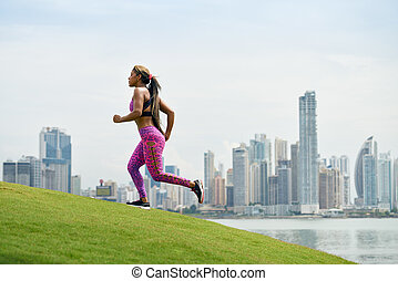 Woman Running And Working Out At Morning In The City