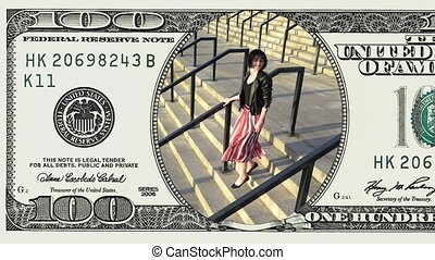 Woman running downstairs in frame 100 dollar bill -...