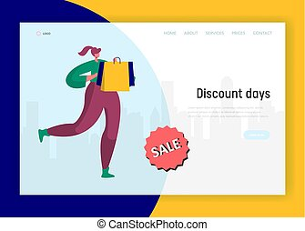 Woman Running for Discount Shopping Landing Page. Holiday...
