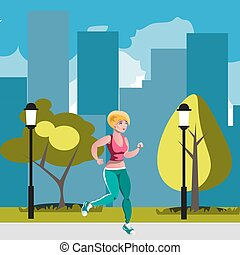 Woman running in park.