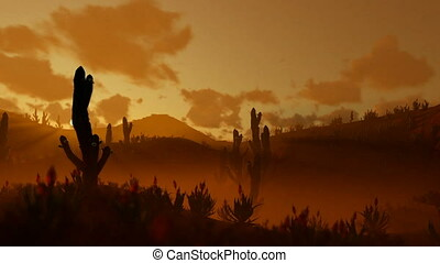 Woman Running in the Desert with Saguaro Cactus against...