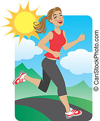 Woman Running in the Park - Illustration of a physically fit...