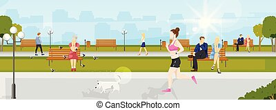 Woman running in the park Vector flat style. Nature summer background, people sitting on the chairs. Sport healthy lifestyle concepts
