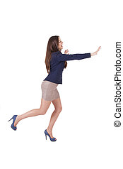woman running isolated on white background