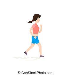 Woman running, jogging.