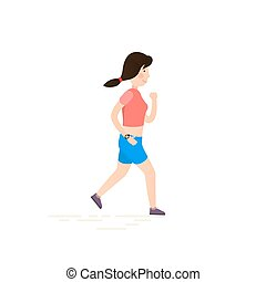Woman running, jogging.