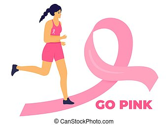 Woman running marathon on a pink ribbon road in support of breast cancer patients. October Awareness Month on Women's Health