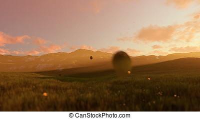 Woman running on green meadow, morning mist
