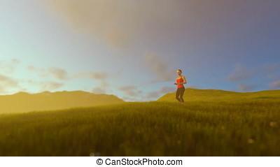 Woman running on green meadow panning, sunrise