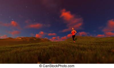Woman running on green meadow panning, sunset