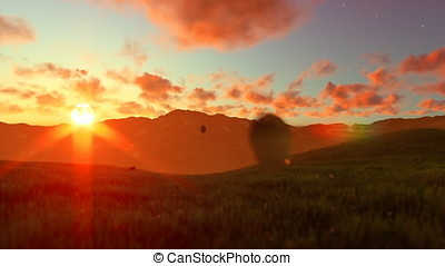 Woman running on green meadow, sunset
