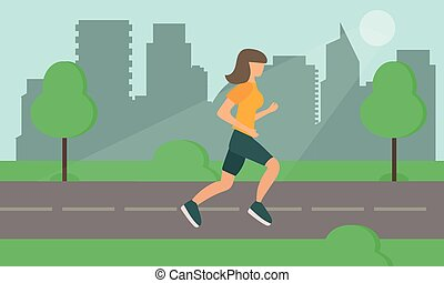 Woman Running on Road in City Park. Vector.