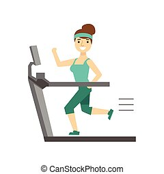 Woman Running On Treadmill, Member Of The Fitness Club Working Out And Exercising In Trendy Sportswear