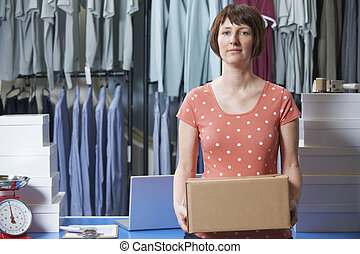 Woman Running Online Clothing Business
