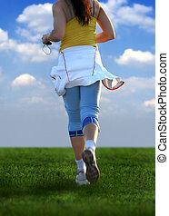 woman running - young woman running