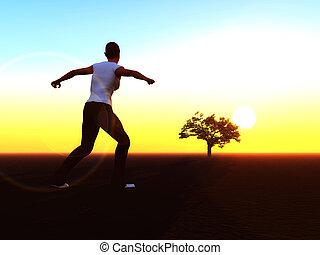 Woman running towards the sunrise