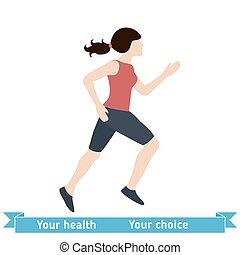 Woman Running Vector Illustration