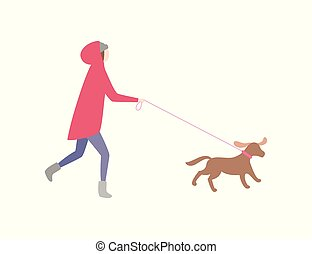 Woman running with dog on leash pet and owner vector. Jogging lady wearing warm clothes, winter season cold. Female walking canine doggy with collar