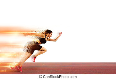 Woman runs in a race to the stadium
