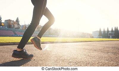 Woman Runs on Sunny Day