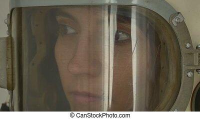 Woman Russian Cosmonaut - Close up shot of a woman cosmonaut...